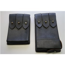 Magazintaschen Leder für 6 Magazine und 1 Patroneneinführer (ohne Inhalt) links und rechts