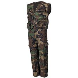 Kinder-Anzug, Weste und Hose, woodland, Hosenbeine abnehmbar