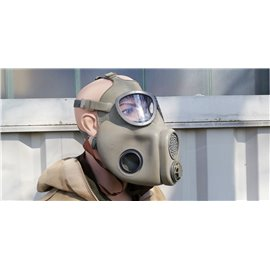 orig. Armee Schutzmaske ABC Mod. M10 mit Backenfilter, Ersatz-Filter, Ersatzgläser, Ventile und Tasche