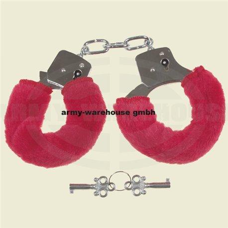 Handschellen mit 2 Schlüssel, chrom, Fellüberzug in rot