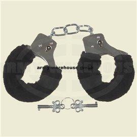 Handschellen mit 2 Schlüssel, chrom, Fellüberzug in schwarz