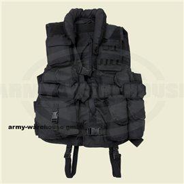 Tactical Weste, schwarz,mit Lederbesatz