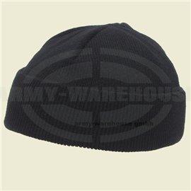 Rollmütze, Acryl, schwarz,fein gestrickt, extra kurz