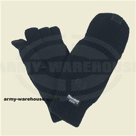 Strick-Handschuhe,ohne Finger,zugl. Fausthandschuh, schwarz