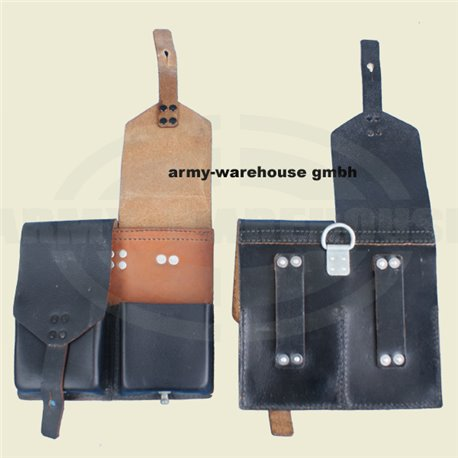Bundesheer StG58 Magazintasche doppelt, Leder, schwarz