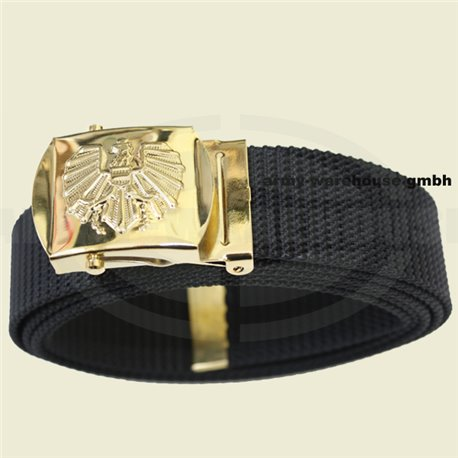 Bundesheer Hosengürtel schwarz, Schnalle gold, neu