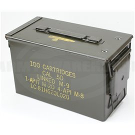 orig. US Munitionsbox für CAL .50, 100 Cartridges, Metallbox, Ammunition Box M-9